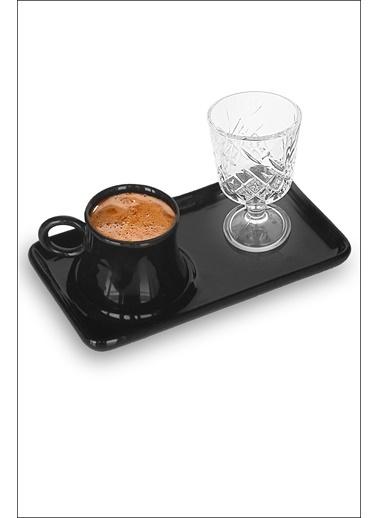 Kitchen Love 3 Parça-Tepsili Seramik Kahve Fincanı+Kahve Yanı Cam Bardak Siyah